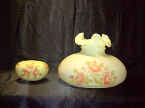 Vintage Fenton Lamp Shade Hand Painted And Signed Vicky Fielder
